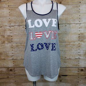 Hot Gal Gray Racerback Love Graphic Tank Top Large